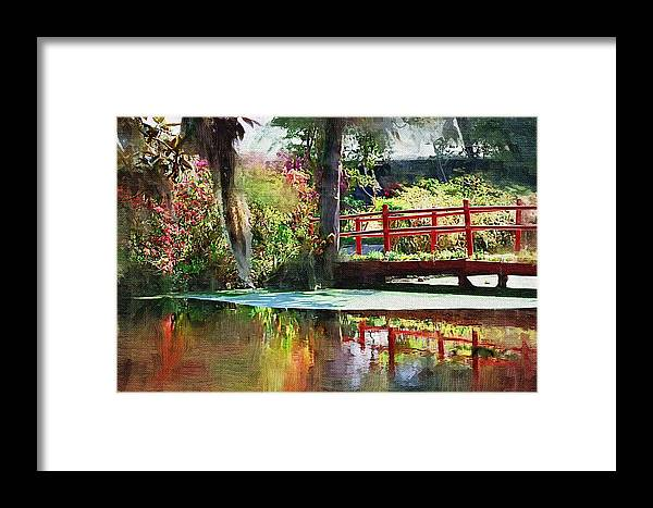 Red Bridge Framed Print featuring the photograph Red Bridge by Donna Bentley