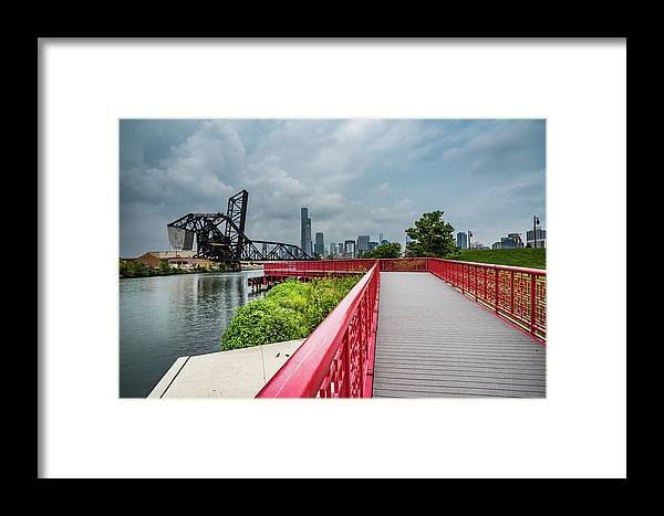 Chicago Framed Print featuring the photograph Red Bridge To Chicago by Anthony Doudt