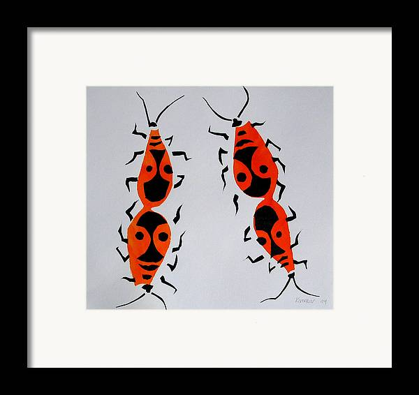 Bug Framed Print featuring the painting Red Bugs by Vitali Komarov