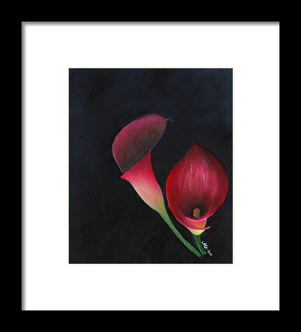 Oil Framed Print featuring the painting Red Calla Lillies by Mary Gaines