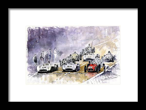 Watercolour Framed Print featuring the painting 1954 Red Car Maserati 250 France Gp by Yuriy Shevchuk