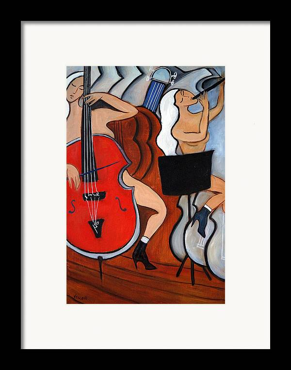Cubic Abstract Framed Print featuring the painting Red Cello 2 by Valerie Vescovi