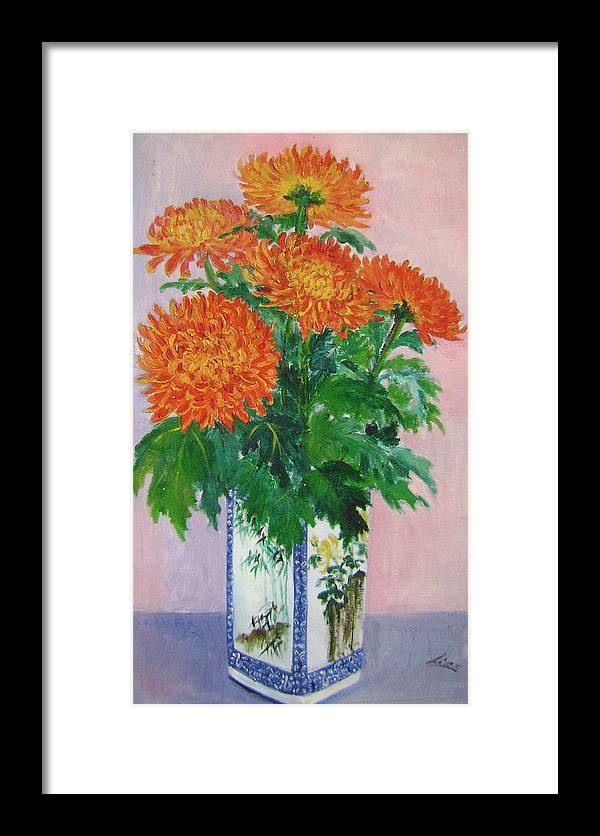 Floral Framed Print featuring the painting Red Chrysanthemums by Lian Zhen