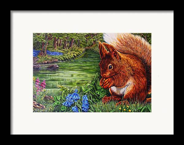 Red Sqiuril Framed Print featuring the painting Red Coate by Donald Dean