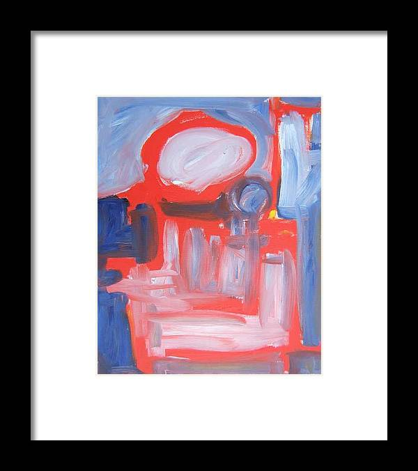 Abstract Framed Print featuring the painting Red Composition by Michael Henderson