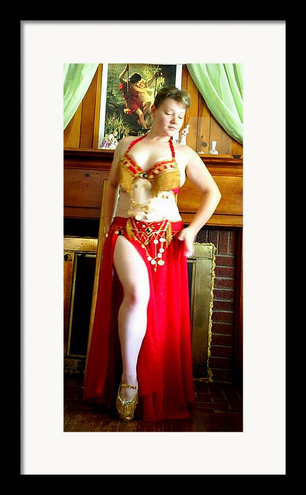 Belly Dancer Framed Print featuring the photograph Red Costume by Scarlett Royal
