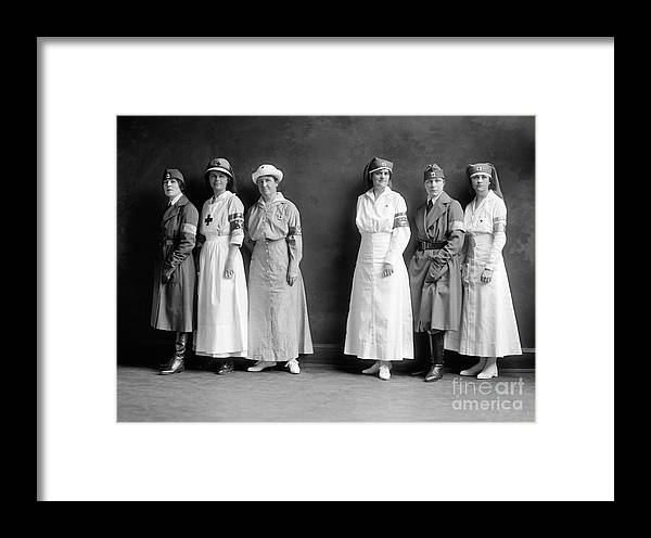 1920 Framed Print featuring the photograph Red Cross Corps, C1920 by Granger
