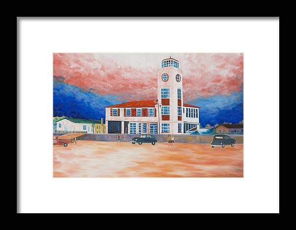 Historic Buildings Framed Print featuring the painting Red Cross Lifeguard Station by Blaine Filthaut