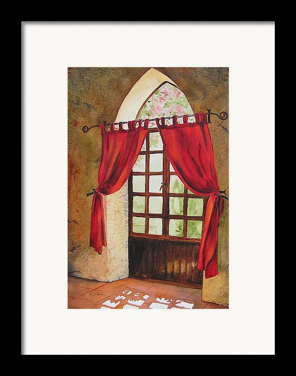 Curtain Framed Print featuring the painting Red Curtain by Karen Stark