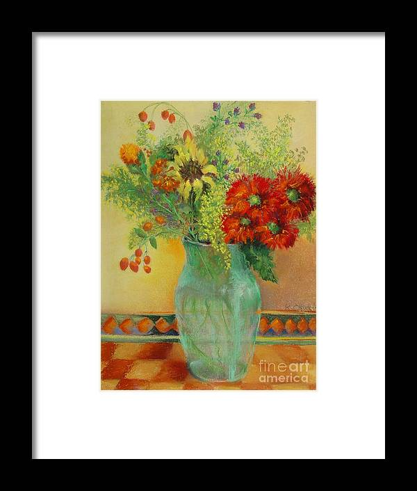 Floral Framed Print featuring the painting Red Daisies In Green Glass                 Copyrighted by Kathleen Hoekstra