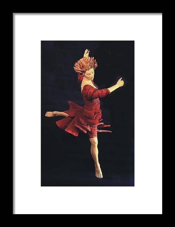 Ballerina Framed Print featuring the sculpture Red Dancer Front View by Gordon Becker