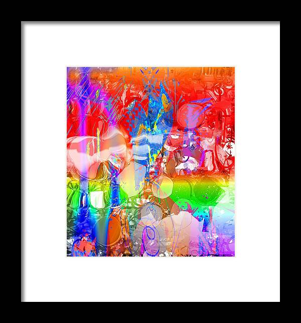 Red Blue Green Violet Abstract Framed Print featuring the digital art Red by Dave Kwinter