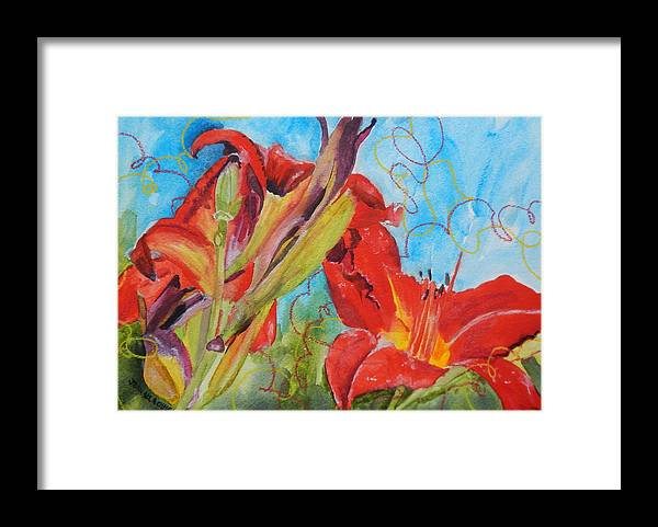 Red Framed Print featuring the painting Red Day Lilies by Jean Blackmer