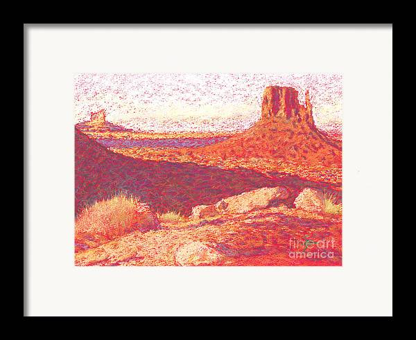 Buttes And Mesas Framed Print featuring the drawing Red Desert by Suzie Majikol Maier