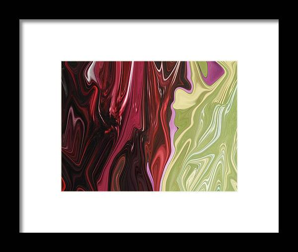 Abstract Framed Print featuring the digital art Red Divide by Florene Welebny