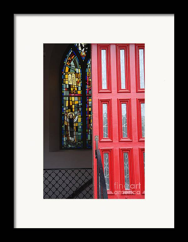 Red Door Framed Print featuring the photograph Red Door At Church In Front Of Stained Glass by David Bearden