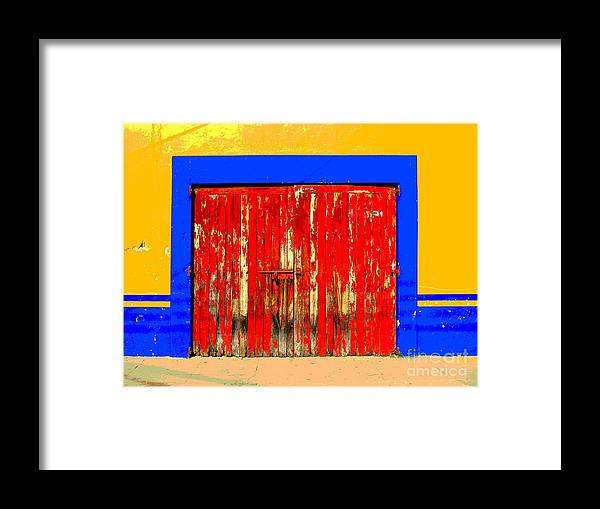 Darian Day Framed Print featuring the photograph Red Door By Darian Day by Mexicolors Art Photography
