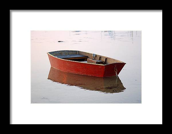 Boat Framed Print featuring the photograph Red Dory by Lucia Vicari