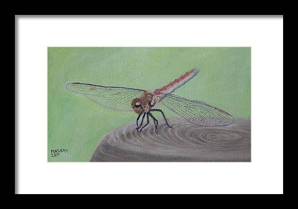 Dragonfly Framed Print featuring the painting Red Dragonfly by Masami Iida