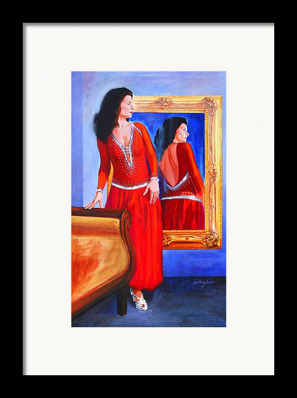 Red Dress Framed Print featuring the painting Red Dress by John Tartaglione