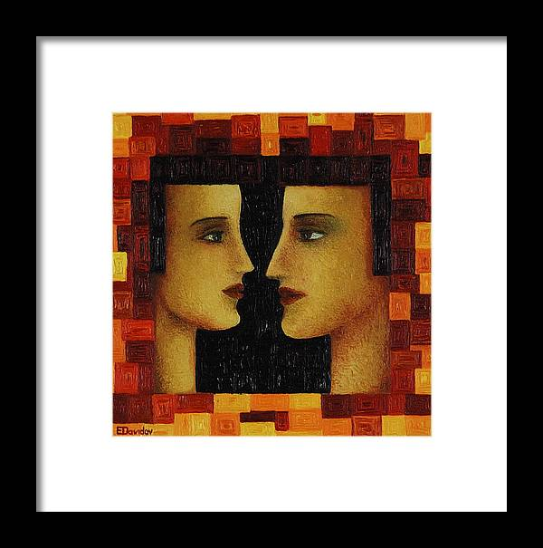 Image Framed Print featuring the painting Red Duet. by Evgenia Davidov
