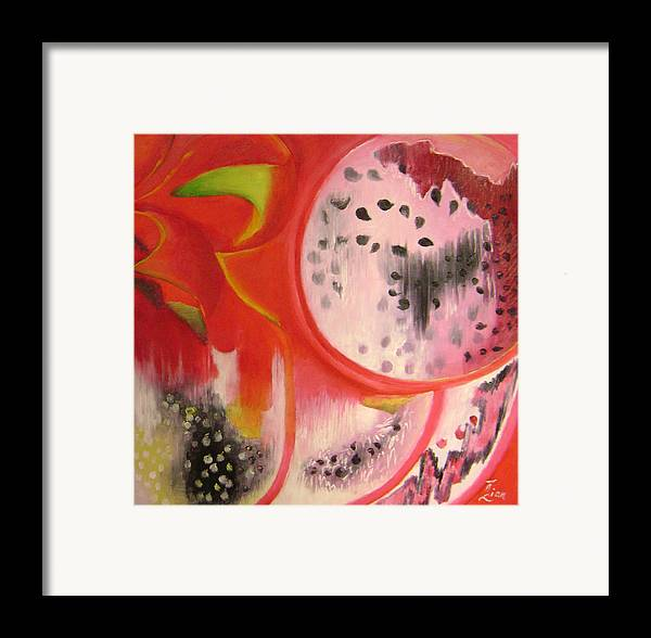 Abstract Framed Print featuring the painting Red Ecstasy 1 by Lian Zhen