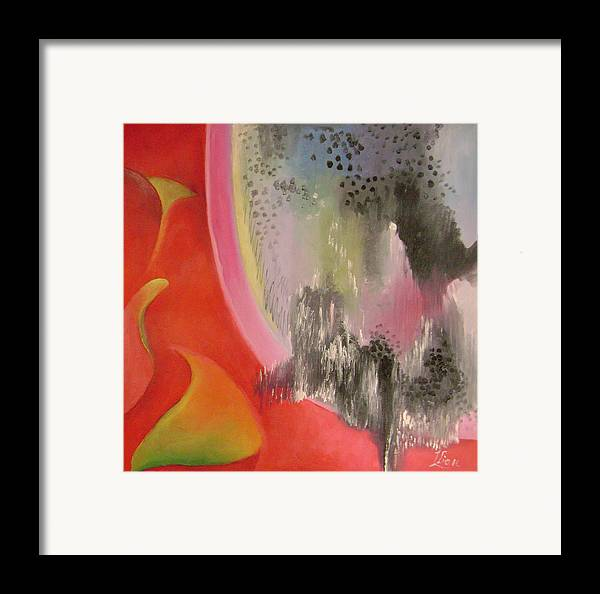 Abstract Framed Print featuring the painting Red Ecstasy 2 by Lian Zhen