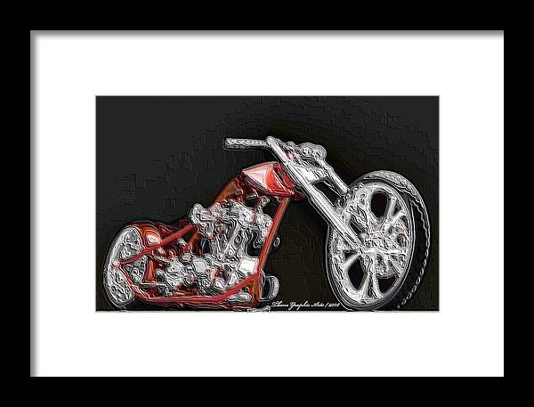 Digital Art Framed Print featuring the digital art Red Embossed Custom by Wayne Bonney