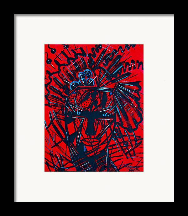 Abstract Framed Print featuring the painting Red Exotica by Natalie Holland