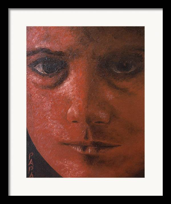 Red Face Framed Print featuring the painting Red Face by Ralph Papa