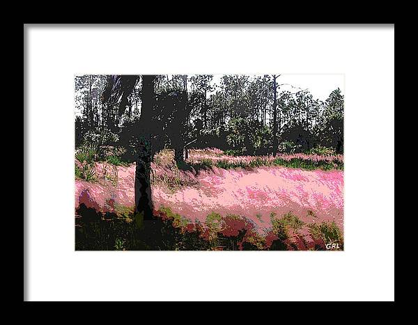 Landscapes Framed Print featuring the painting Red Fire Grass Field Gulf Coast Florida Detail by G Linsenmayer