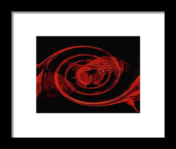 Digital Art Framed Print featuring the digital art Red Fish Abstract by Sue Masterson
