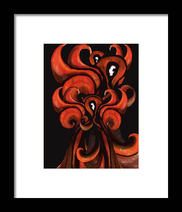 Fire Framed Print featuring the painting Red Flames by MandyCka Johnson