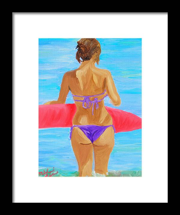 Lady Framed Print featuring the painting Red Float by Michael Lee