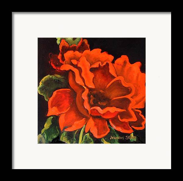 Red Flower Framed Print featuring the painting Red Flower by Jeanene Stein