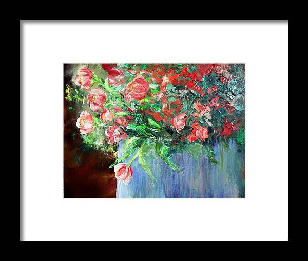 Flowers Vase Planter Red Flower Blue Vase Framed Print featuring the painting Red Flowers Blue Planter by Lynda McDonald
