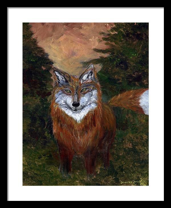 Foxes Framed Print featuring the painting Red Fox - www.jennifer-d-art.com by Jennifer Skalecke