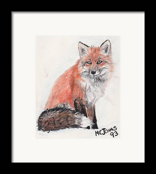 Red Fox Framed Print featuring the drawing Red Fox In Snow by Marqueta Graham