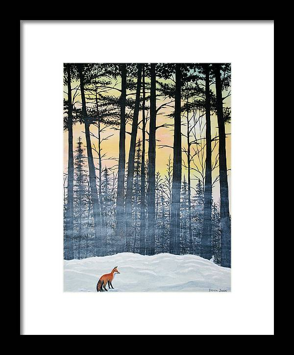 Woods Framed Print featuring the painting Red Fox Morning Hunt by Brenda Baker