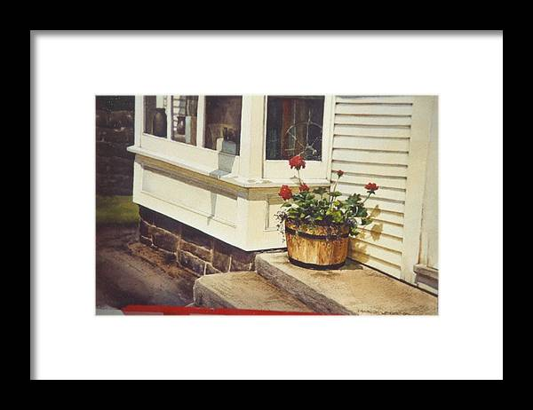 Flowers Framed Print featuring the painting Red Geraniums by Marion Hylton