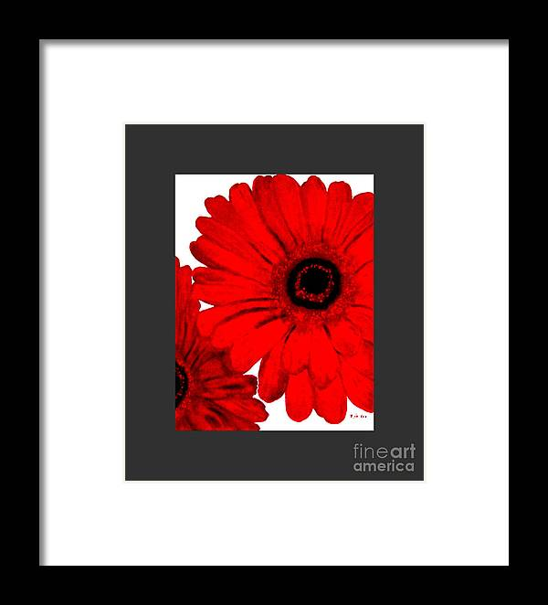Painting Framed Print featuring the painting Red Gerber Border   Digital Art by Marsha Heiken