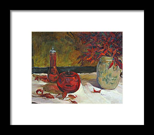 Still Life Framed Print featuring the painting Red Glass And Nandina Leaves by Jimmie Trotter