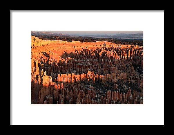 Bryce Framed Print featuring the photograph Red Glow Of The Sunrise In Bryce Canyon by Pierre Leclerc Photography