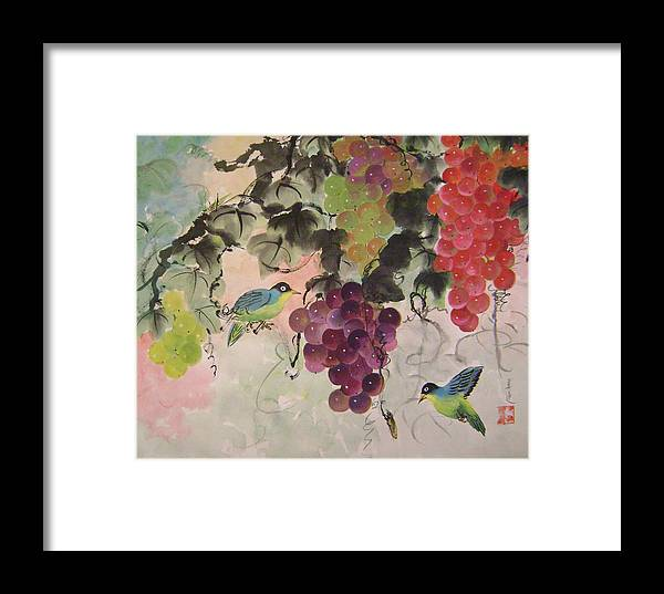 Water Colour Framed Print featuring the painting Red Grapes And Blue Birds by Lian Zhen