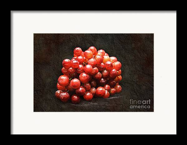 Red Framed Print featuring the photograph Red Grapes by Andee Design