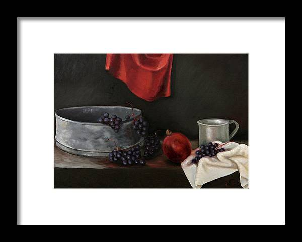 Still-life Dark Brown Red Grapes Blue Drapery Framed Print featuring the painting Red Grapes by Raimonda Jatkeviciute-Kasparaviciene