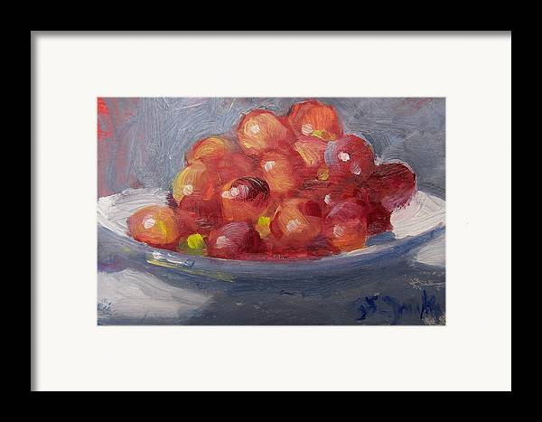 Grapes Framed Print featuring the painting Red Grapes by Susan Jenkins