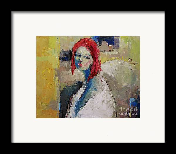 Oil Framed Print featuring the painting Red Haired Girl by Becky Kim