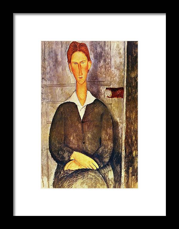 1508ca4601b Red Haired Young Man Framed Print featuring the painting Red Haired Young  Man Amedeo Modigliani 1906
