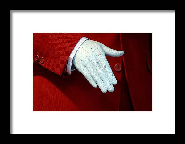Jez C Self Framed Print featuring the photograph Red Handed by Jez C Self